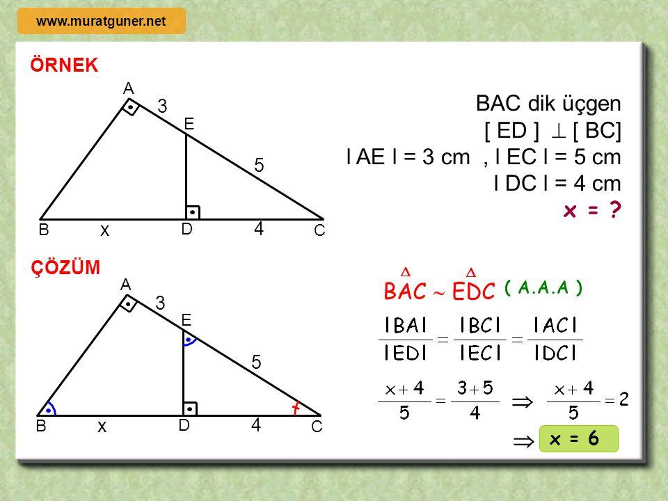 BAC dik üçgen [ ED ]  [ BC]